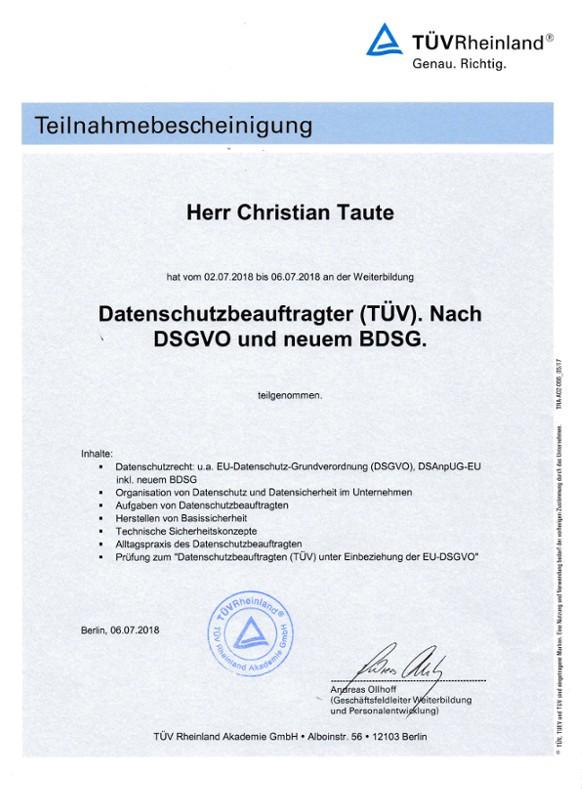 Berliner Datenschutzbeauftragter Teilnahmebescheinigung TÜV Rheinland
