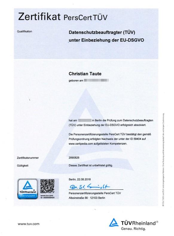 Tüv Rheinland Zertifikat - Datenschutzbeauftragter Berlin