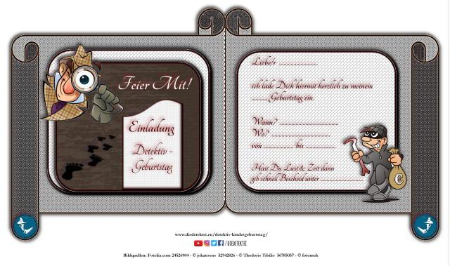 Einladungskarte für einen Detektiv Kindergeburtstag zum ausdrucken